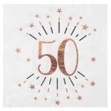Serviette de table anniversaire 50ans blanche et rose gold métallique (x20) REF/7350