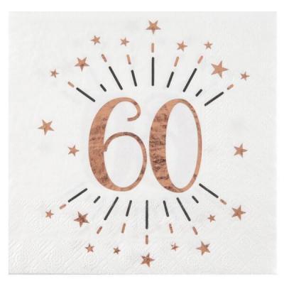 Serviette de table anniversaire 60ans blanche et rose gold métallique (x10) REF/7350