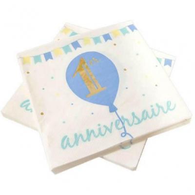 Serviette de table anniversaire 1 an blanche, dorée métallisée et bleu ciel (x20) REF/BB143