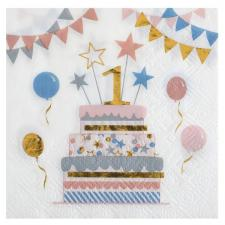 Serviette cocktail anniversaire enfant 1 an multicolore (x20) REF/6696