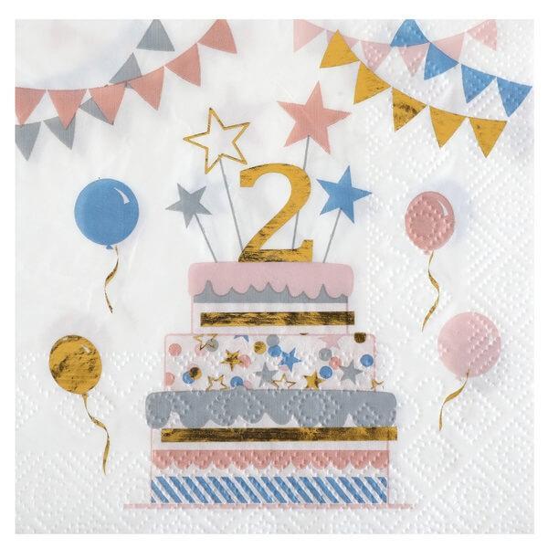 Serviette de table anniversaire enfant 2 ans