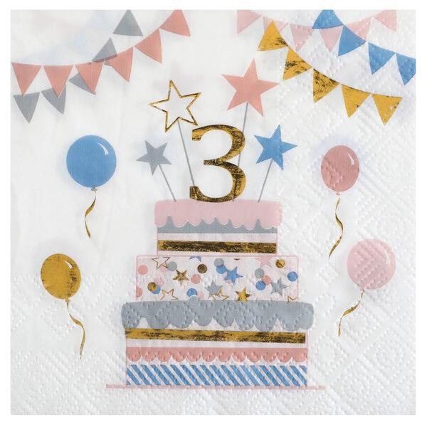 Serviette de table anniversaire enfant 3 ans