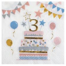 Serviette cocktail anniversaire enfant 3 ans multicolore (x20) REF/6696