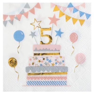 Serviette cocktail anniversaire enfant 5 ans multicolore (x20) REF/6696