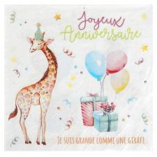 Serviette de table anniversaire enfant zoo multicolore (x20) REF/6756