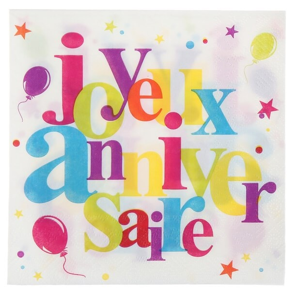 Serviette de table anniversaire festive