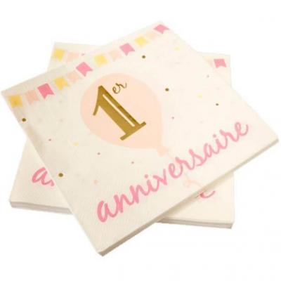 Serviette de table anniversaire 1 an blanche, dorée métallisée et rose (x20) REF/BB143