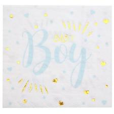Serviette de table Baby Shower Boy en blanc, bleu ciel et or métallisé (x20) REF/7254