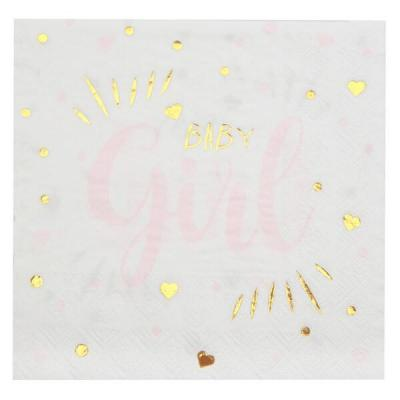 Serviette de table Baby Shower Girl en blanc, rose et or métallisé (x20) REF/7254