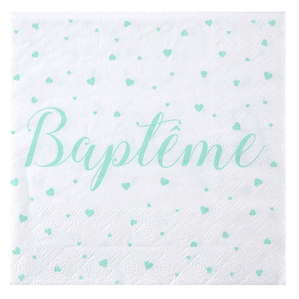 Serviette de table bapteme mint