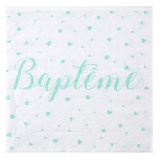 Serviette de table Baptême Mint (x20) REF/6340