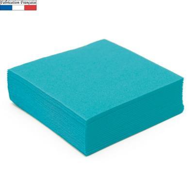Serviette de table micro gaufrée bleu turquoise française 38cm (x50) REF/8084