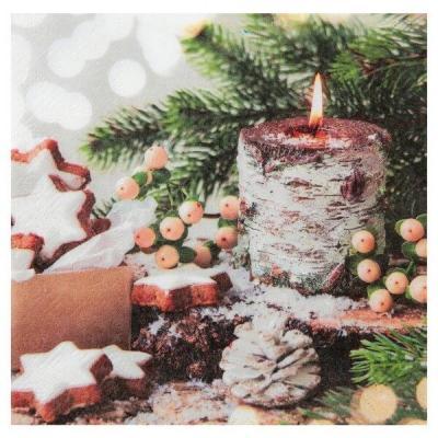Serviette de table bougie de Noël (x20) REF/7425