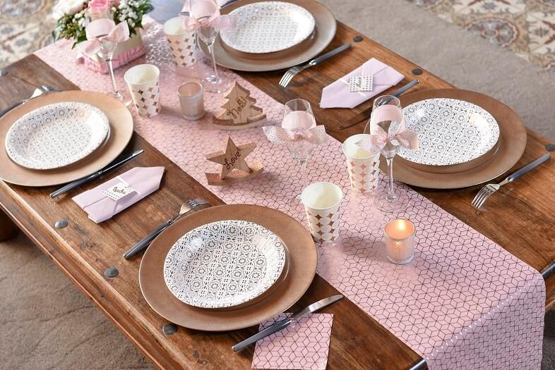 Serviette de table carreau de ciment cuivre et rose