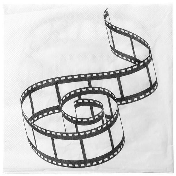 Serviette de table cinema blanche et noire
