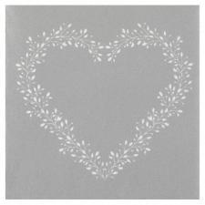 Serviette de table argent Airlaid avec motif coeur élégant (x12) REF/7217