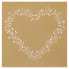 Serviette de table or Airlaid avec motif coeur élégant (x12) REF/7217