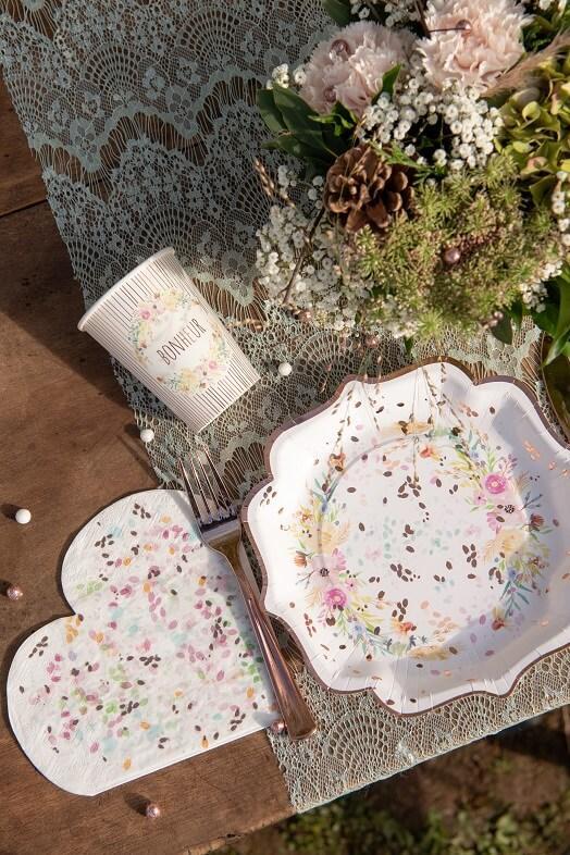 Serviette de table coeur champetre mariage fleur