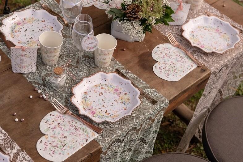 Serviette de table coeur champetre mariage floral