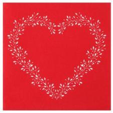 Serviette de table rouge Airlaid avec motif coeur élégant (x12) REF/7217