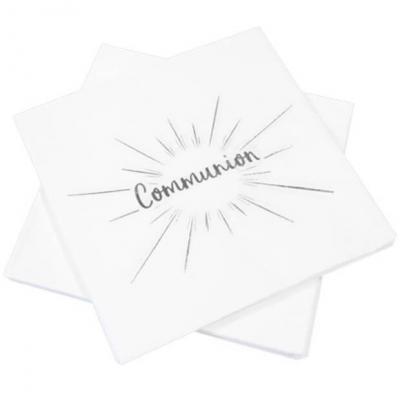 Serviette de table communion blanche et argentée (x20) REF/JET015