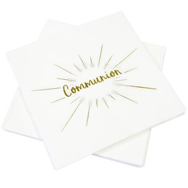 Serviette de table communion blanche et doree