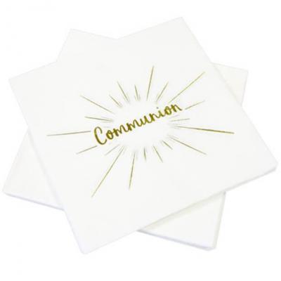 Serviette de table communion blanche et dorée (x20) REF/JET015