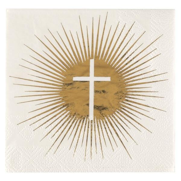 Serviette de table communion croix blanche et doree metallisee