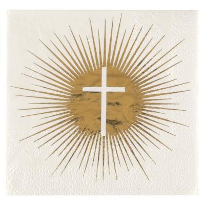 Serviette cocktail Communion croix blanche et dorée métallisée (x20) REF/6847