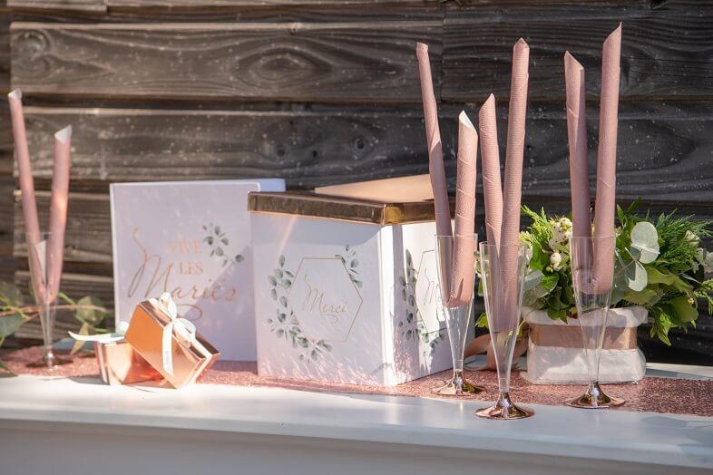 Serviette de table elegante mariage rose gold