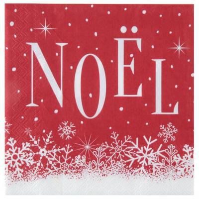 Serviette de table élégante Noël enneigée rouge et blanche (x20) REF/6966