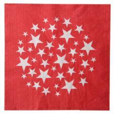 Serviette de table étoile rouge et blanc (x10) REF/70136