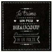 Serviette de table mariage je t'aime: Noir (x20) REF/5179