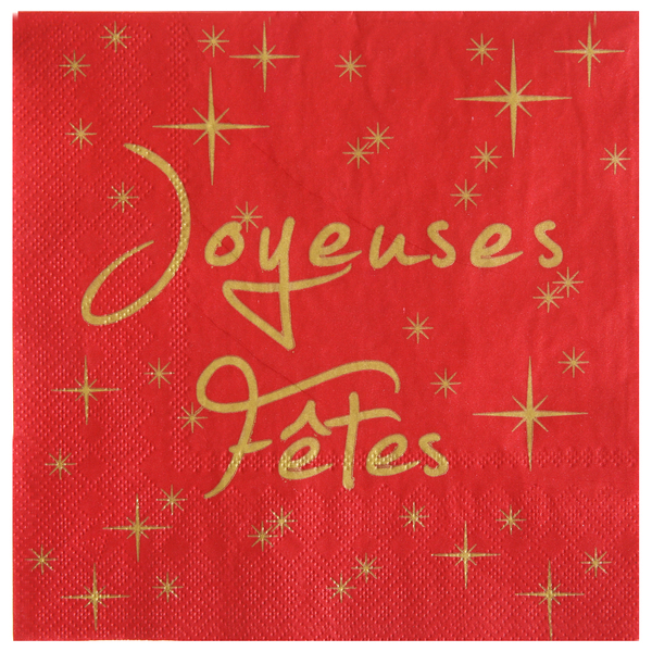 Serviette de table joyeuses fetes rouge