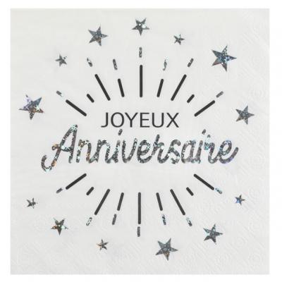 Serviette de table joyeux anniversaire blanc et argent métallique (x10) REF/6649