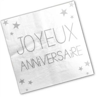 Serviette joyeux anniversaire Blanc Albâtre (x24) REF/S3PA00BA