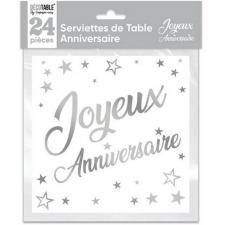 Serviette de table joyeux anniversaire blanche et argentee metallisee