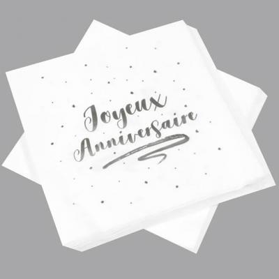 Serviette de table anniversaire blanche et argentée (x20) REF/JET005