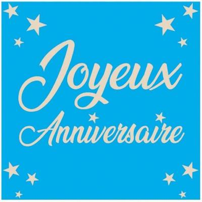 Serviette de table joyeux anniversaire bleue (x24) REF/STA00B