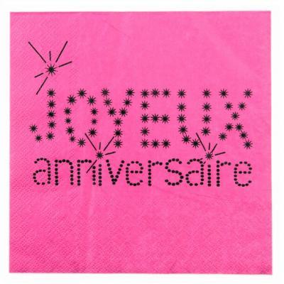 Serviette joyeux anniversaire fuchsia (x20) REF/4005
