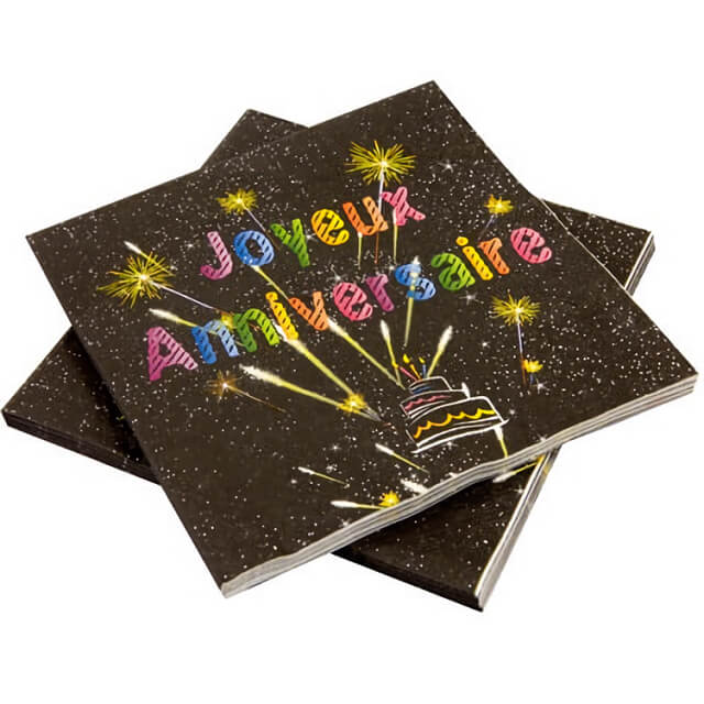 Serviette de table joyeux anniversaire noir et multicolore copie