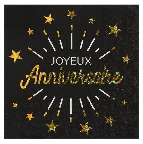 Serviette de table joyeux anniversaire noir et or metallique