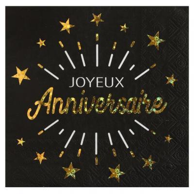 Serviette de table joyeux anniversaire noir et or métallique (x10) REF/6649