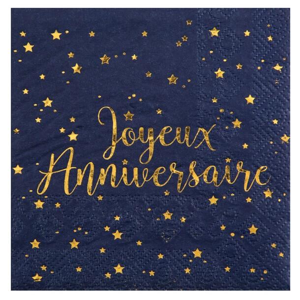 Serviette de table joyeux anniversaire or et bleue