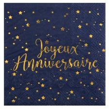 Serviette cocktail anniversaire bleue et or (x20) REF/5663