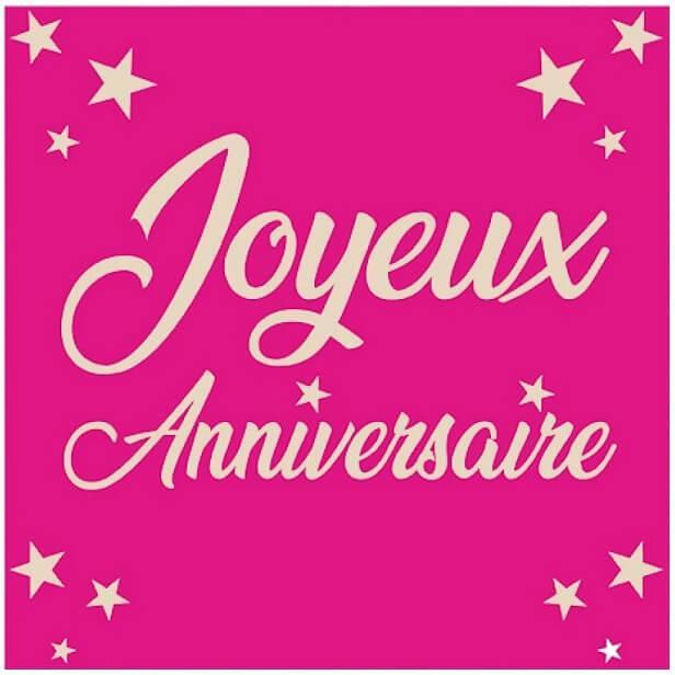 Serviette de table joyeux anniversaire rose fuchsia en papier 1
