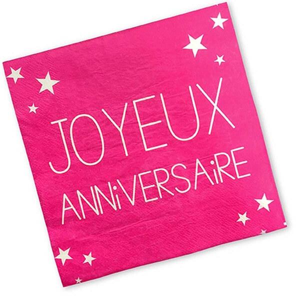 Serviette de table joyeux anniversaire rose fuchsia en papier