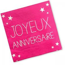 Serviette joyeux anniversaire fuchsia (x24) REF/S3PA00F