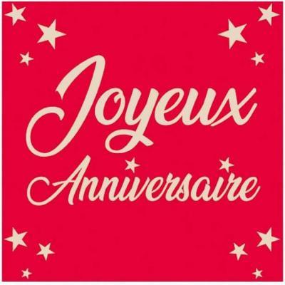 Serviette de table joyeux anniversaire rouge (x24) REF/STA00R