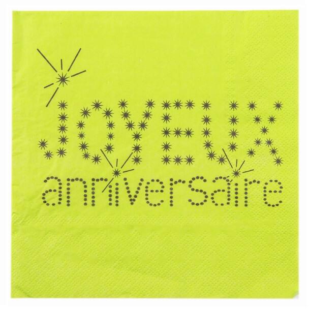 Serviette de table joyeux anniversaire verte